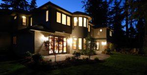 Home at night, Exterior lighting, interior lighting